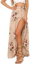 Imixshop Women's High-waisted Boho Chiffon Maxi Skirt Dress Wrapped Beach Cover up (S, C_)