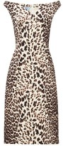 Prada Leopard-print Off-the-shoulder Wool Dress - Womens - Leopard