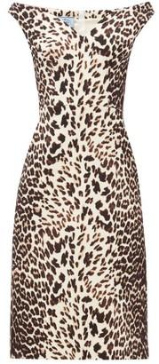 Prada Leopard-print Off-the-shoulder Wool Dress - Womens - Leopard