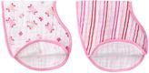 Aden Anais Pink & White Muslin Princess Posie Burpy Bib - Set of Two