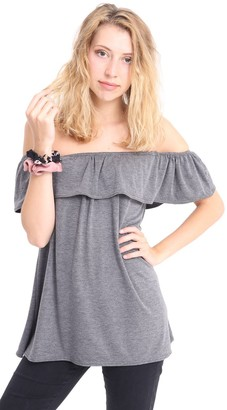 One Look Clothing Ladies Sexy Off The Shoulder Frill Bardot Jersey Style Loose FIT TOP 8 10 14 18 (M/L (12/14)