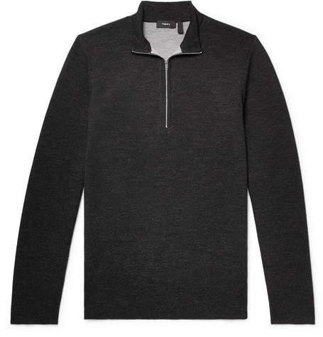 Theory Slim-fit Merino Wool-blend Half-zip Sweater - Charcoal