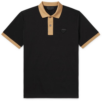 Prada Logo-Appliqued Slim-Fit Contrast-Tipped Cotton-Pique Polo Shirt