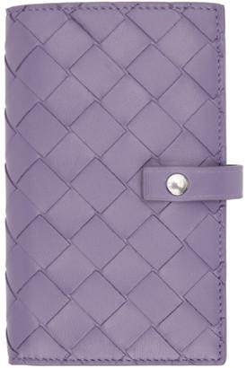 Bottega Veneta Purple Intrecciato Medium French Wallet