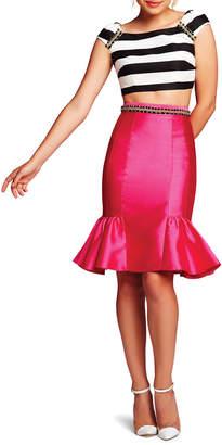 Mac Duggal Striped Crop Top & Peplum Skirt Two-Piece Set