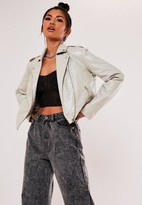 Missguided Light Grey Faux Leather Cropped Jacket