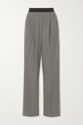 LOULOU STUDIO Moretta Pleated Pinstriped Stretch-wool Straight-leg Pants - Gray