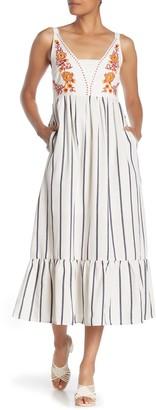 MelloDay Embroidered Stripe Skirt Midi Dress