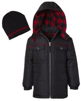 iXtreme Puffer Jacket with Buffalo Check Hood - Free Gift with Purchase (Little Boys & Big Boys)