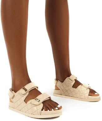 Public Desire Uk Carmen Buckle Strap Flat Sandals