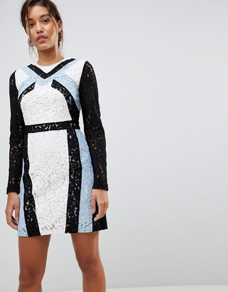 Morgan Contrast Lace Panel Pencil Dress