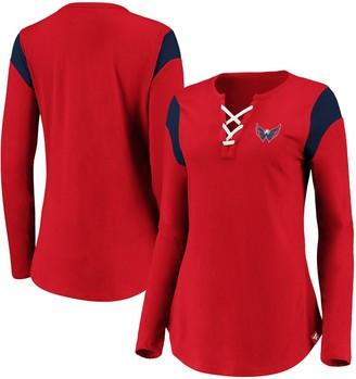 Women's Fanatics Branded Red Washington Capitals Iconic Long Sleeve Lace-Up V-Neck T-Shirt