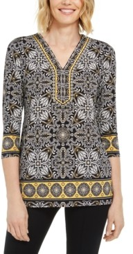 JM Collection Embellished-Neck Printed Tunic, Created for Macy's