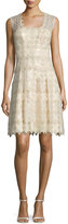Kay Unger New York Sleeveless Metallic Lace Cocktail Dress