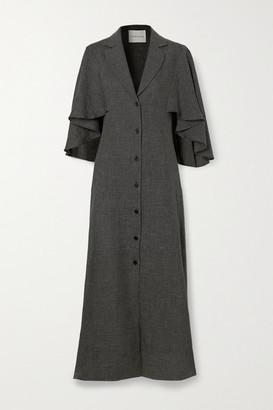 KING & TUCKFIELD Waterfall Checked Linen Midi Dress - Black