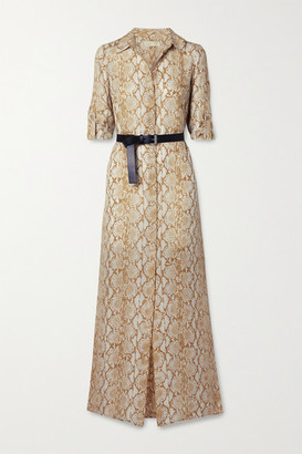 MICHAEL Michael Kors Belted Snake-print Silk-crepe Maxi Shirt Dress - Beige