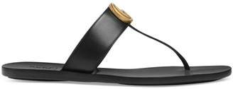 Gucci Marmont Leather Thong Sandals With Double G