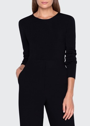 Akris Ballet-Neck Long-Sleeve Sweater w/ Keyhole Back