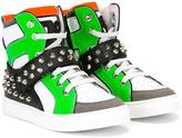 DSQUARED2 studded colour block sneakers - kids - Calf Leather/Leather/rubber - 36