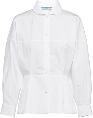 Prada Peter Pan-Collar Cotton Poplin Shirt