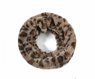 She Loves Gifts Ladies Women Leopard Animal Print Faux Fur TAN Cream Brown Snood Soft Scarf