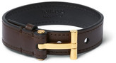 Tom Ford Leather And Gold-plated Sterling Silver Bracelet