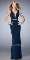 La Femme Beaded Illusion Racerback Evening Dress