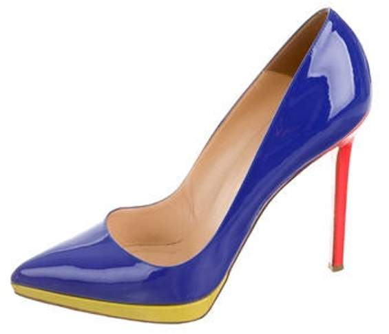 34569be9f21d3 Patent Leather Pointed-Toe Pumps Blue Patent Leather Pointed-Toe Pumps