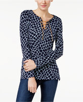 MICHAEL Michael Kors Printed Lace-Up Tunic