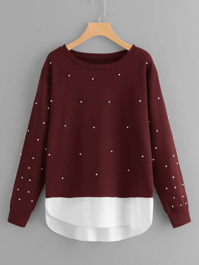 Plus Beaded Decoration Sweatshirt