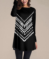 Nanu Women's Tunics Black - Black & White Chevron Long-Sleeve Tunic - Women & Plus
