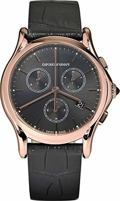 Emporio Armani Swiss Made Men's Swiss Quartz Stainless Steel and Grey Leather Dress Watch (Model: ARS6004)