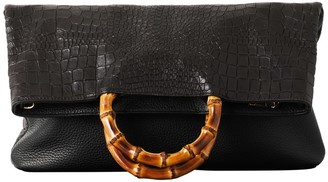 Vash Elise Tote In Black Croc Leather