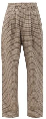 Brunello Cucinelli Asymmetric-waist Checked Linen-blend Trousers - Beige Multi