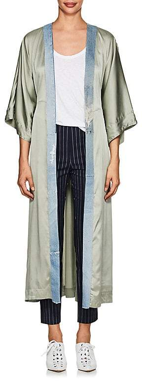 Greg Lauren Women's Denim-Trimmed Silk Kimono