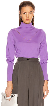 Victoria Beckham Ajure HIgh Neck Sweater in Bright Lilac   FWRD