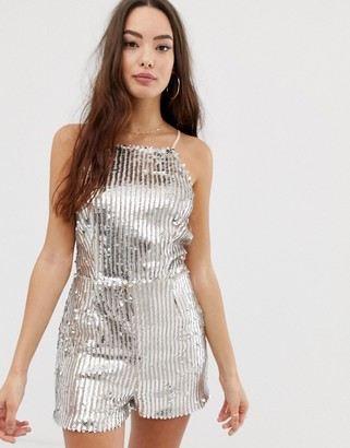 Girl In Mind sequin square neck playsuit