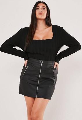 Missguided Size Black Coated Denim Zip Mini Skirt