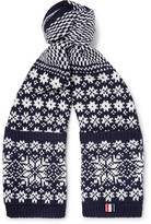 Thom Browne Fair Isle Wool And Mohair-blend Scarf - Midnight blue