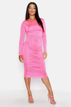 boohoo Ruched Side Midi Dress