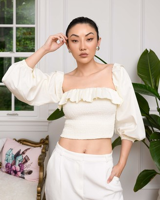 The Drop Women's Cloud White Smocked Ruffle-Neck Top with Straps by @jessicawang XS