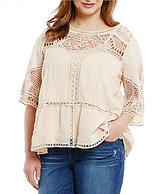 Democracy Plus 3/4 Sleeve Crochet Top