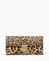 Charming charlie Leopard Clover Turnlock Crossbody Wallet