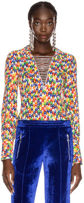 Area Crystal Plunge Bodysuit in Rainbow | FWRD