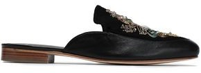 Lanvin Embellished Suede And Leather Slippers
