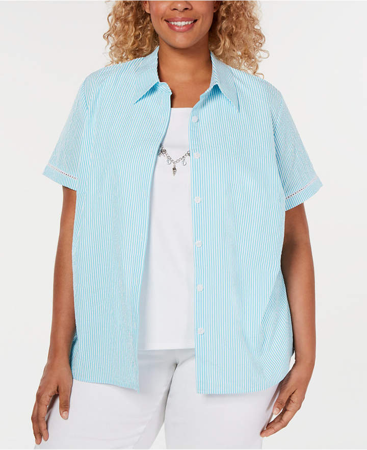 9f226abaa6 Alfred Dunner Blue Plus Size Tops - ShopStyle