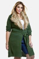 Fashion to Figure Shawne Faux Fur Collar Cardigan