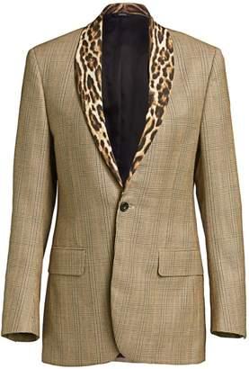 R 13 Leopard Shawl Lapel Plaid Tuxedo Jacket
