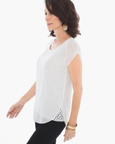 Chico's Ditsy Dot Overlay Top