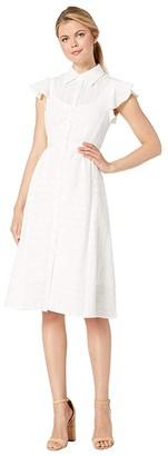 Nanette Lepore Solid Stripes Dress (White) Women's Dress